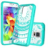 Anoke Slim Fit Colorful Mandala Flower Acrylic Hybrid Hard Rubber TPU Bumper Clear Case with HD Screen Protector for Samsung Galaxy S5 - CH Mint