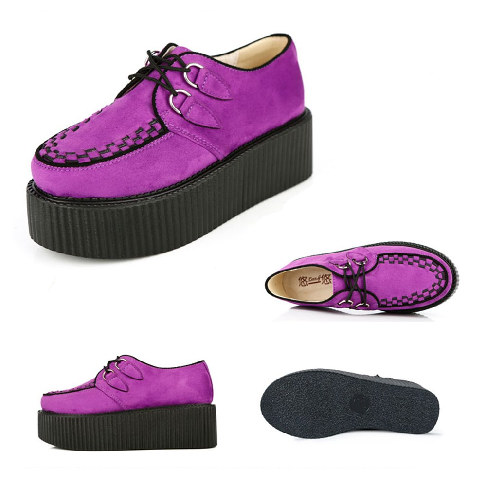 RoseG Womens Handmade Suede Lace Up Flat Platform Creepers Shoe