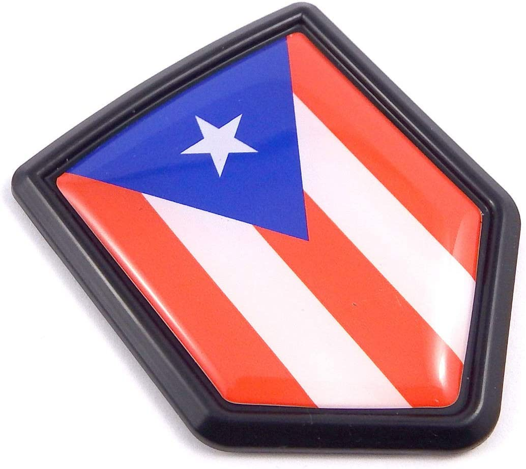 Puerto Rico Flag Black Shield Car Bike Decal Crest Emblem 3D Sticker