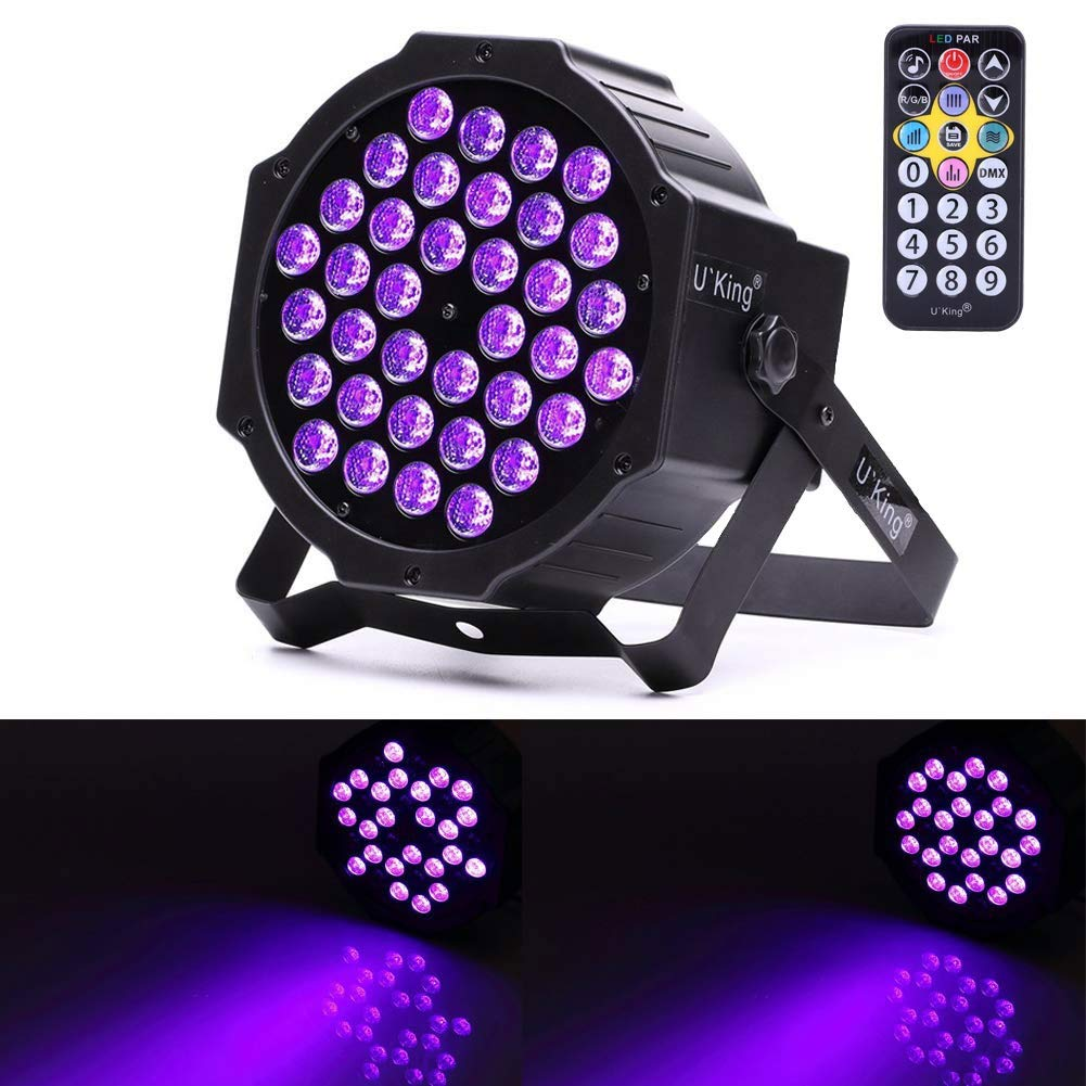 U`King LED Black Light 72W UV Lighting Par Lights Glow in the Dark Supplies Blacklight For Christmas and Birthday Party Wedding Stage Controlled By IR Remote and DMX by U`King