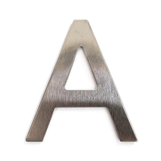 Letra de acero inoxidable adhesiva, altura 7,5 cm, número de casa, número de puerta de diseño A