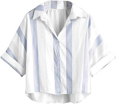 URIBAKY - Blusa de Manga Corta para Mujer (Lino y algodón) Azul Claro XL: Amazon.es: Ropa y accesorios