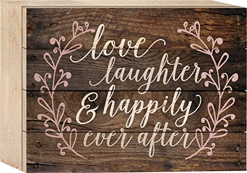 P. GRAHAM DUNN Love Laughter & Happily Ever After Rustic 6 x 8 Wood Block-Style Wall Art Sign Plaque ()