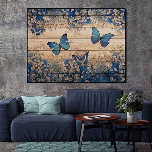 ALENIS Large Canvas painting Wall Art Pictures home decor prints on Flowers and butterflies Wall poster decoration for living room -