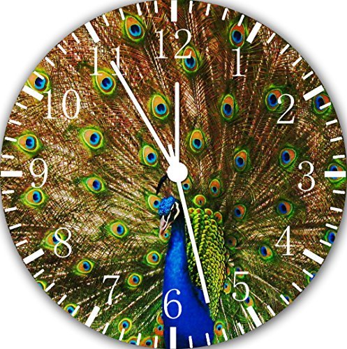 Cute Peacock Frameless Borderless Wall Clock E114 Nice For Gift or Room Wall Decor by Frameless Clock