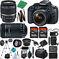 Canon Rebel T5 Camera + 18-55mm IS + 55-250mm STM + 2pcs 16GB Memory + Case + Memory Reader + Tripod + ZeeTech Starter Set + Wide Angle + Telephoto + Flash + Battery + Charger