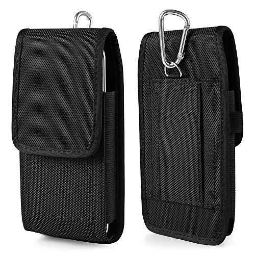 Kingsource iPhone 8 iPhone 7 6 6S 4.7 inches holster--Heavy Duty Rugged Nylon Canvas Protective Carrying Cell Phone Case Pouch (with Metal hook) Will only fit with a skin silicone (Mobile Phone Skin)