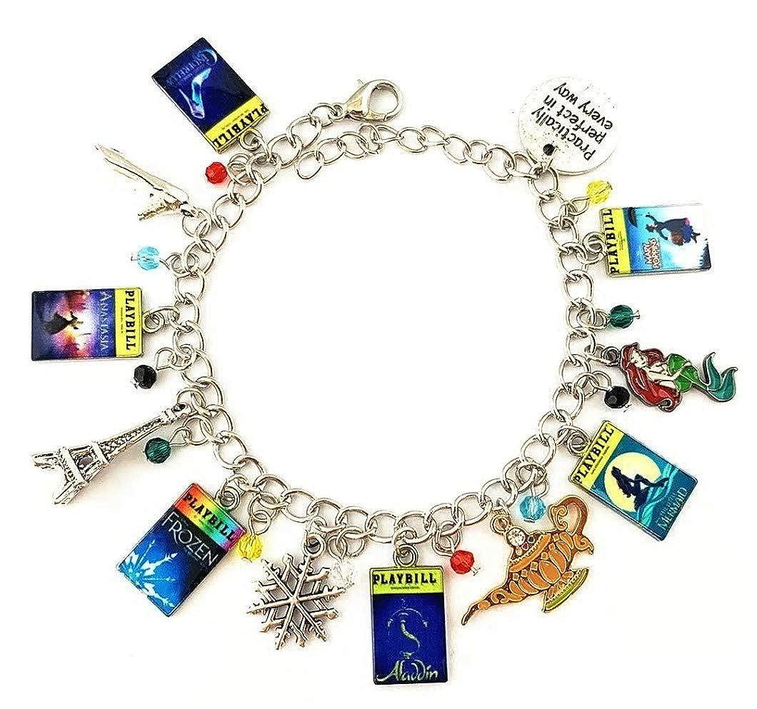 Mainstreet 247 Broadway Playbills 12 Classic Cartoon Themed Charms Metal Charm Bracelet