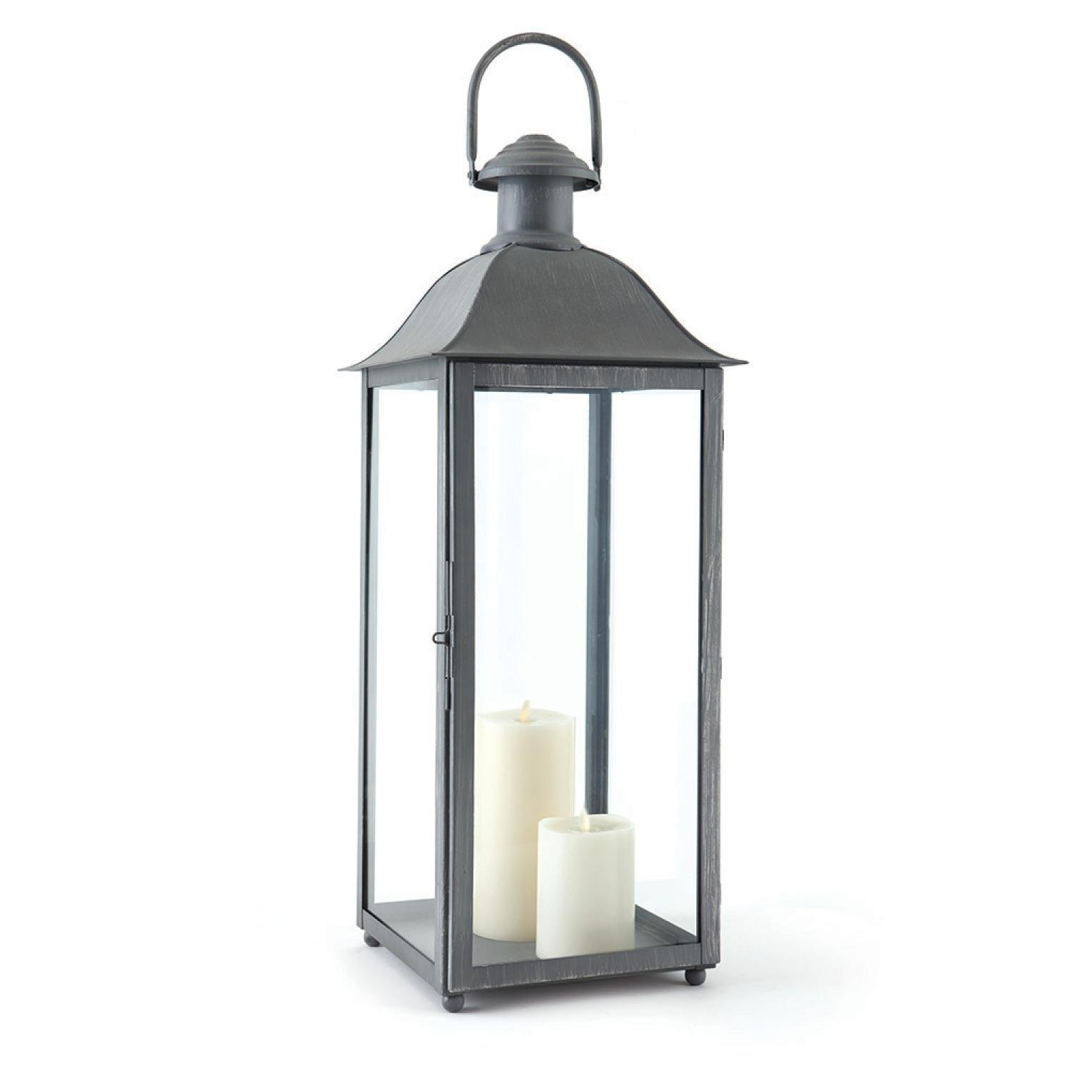 """30"""" Distressed Grey Classic Style Decorative Outdoor Candle Lantern"""