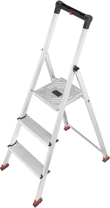 Hailo 8723-101 - Escalera de aluminio con sujeción de seguridad (3 escalones, diseñada para suelos delicados): Amazon.es: Bricolaje y herramientas
