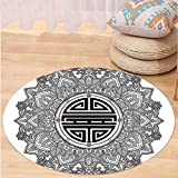 VROSELV Custom carpetMandala Decor Chinese Longevity Luck Health and Good Protection Sign Mandala Icon Image for Bedroom Living Room Dorm Black White Round 72 inches