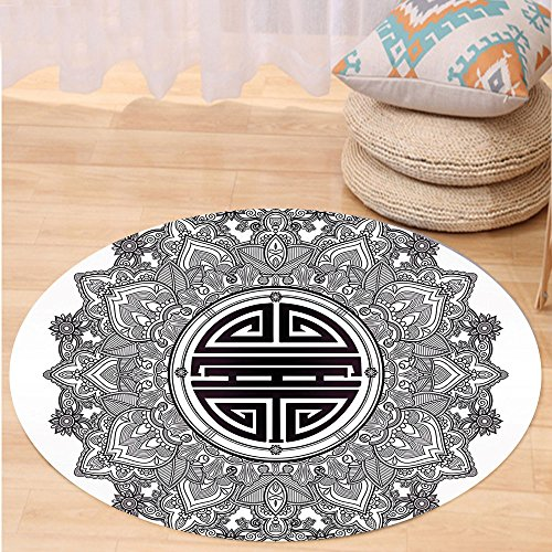 VROSELV Custom carpetMandala Decor Chinese Longevity Luck Health and Good Protection Sign Mandala Icon Image for Bedroom Living Room Dorm Black White Round 72 inches by VROSELV