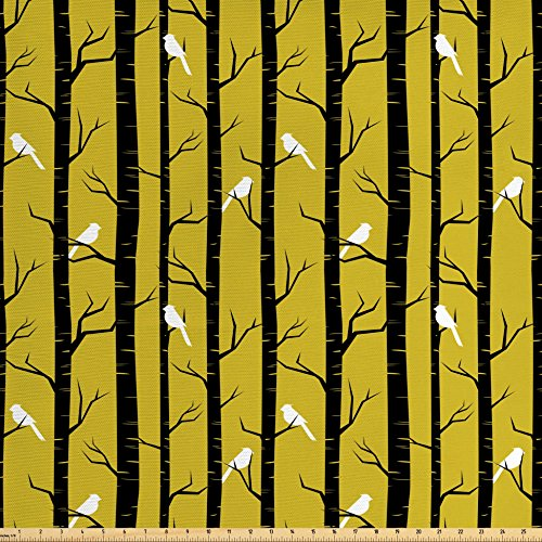 Ambesonne Yellow Decor Fabric by The Yard, Modern Artdeco Style Design Forest with Birds and Trees Artwork, Decorative Fabric for Upholstery and Home Accents, White Black and (Amber Living Room Upholstery)