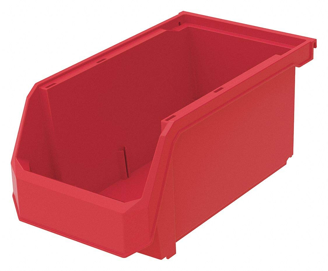 Hang and Stack Bin, Red, 14-3/4'' Outside Length, 8-1/4'' Outside Width, 7'' Outside Height pack of 5