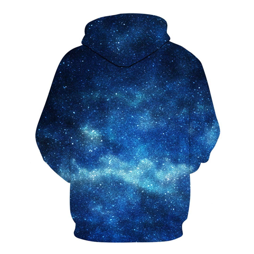 3D Space Hooded Sweatshirts Blue Galaxy Male Tracksuits Fashion Pullover