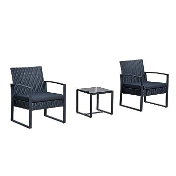 Outsunny Conjunto de Muebles Ratán de Jardín y Exterior con 1 Mesita y 2 Sillones - Color Negro - Poliratán, Acero y Tela de Poliéster
