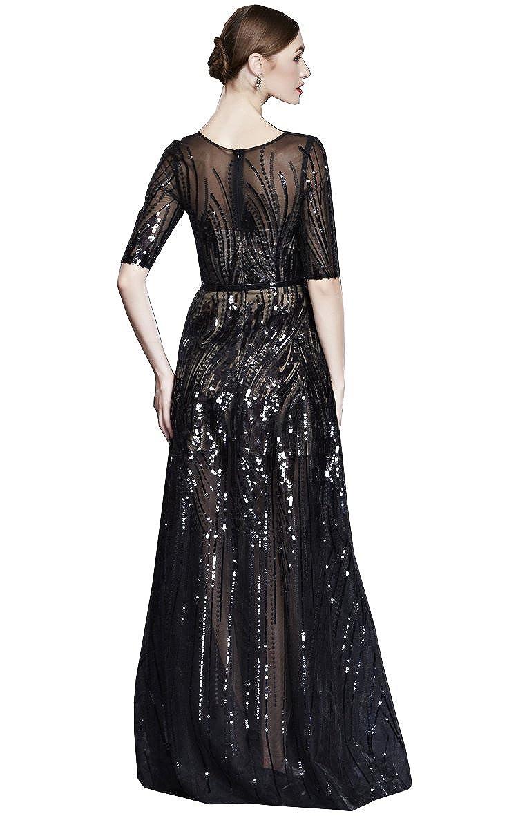 3f4c14fcd2 Amazon.com  Beauty-Emily See-Through Sequin O Neck Half Sleeve Evening  Dresses  Clothing