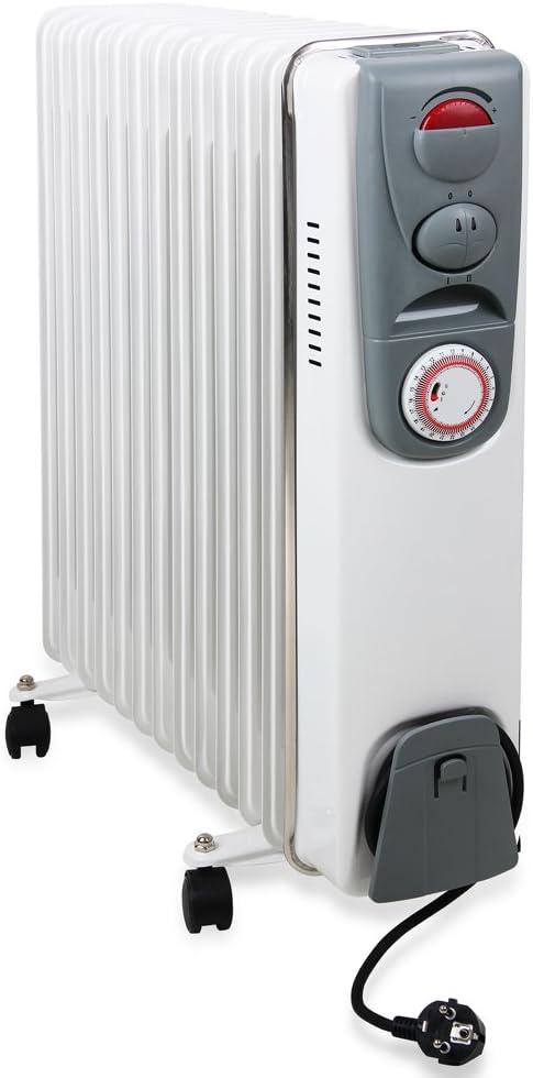 monzana® Radiador eléctrico de aceite | 13 elementos | 3 niveles de potencia | 1000W 1400W 2500W | Temporizador 24 horas | Interruptor encendido | Apagado automático | Regulación de temperatura