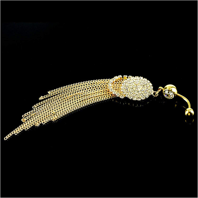 LiQinKeJi8 Anillo en el Ombligo 1 unids Anillo de Botones de la Borla Larga de Moda con Rhinestone Colgante Redondo Acero quirúrgico Ombligo Ombligo Piercing Bell Stud Jewelry para Mujeres