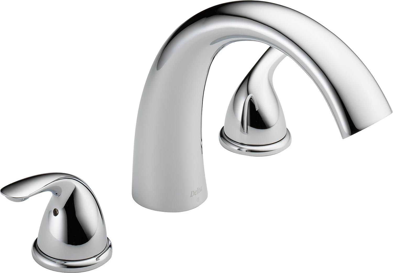 Delta Faucet Classic 2-Handle Widespread Roman Tub Faucet Trim Kit, Deck-Mount, Chrome T2705 (Valve Not Included)