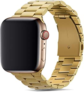 Tasikar Band Compatible with Apple Watch Band 44mm 42mm Premium Stainless Steel Metal Replacement Strap Compatible with Apple Watch Series 6 5 4 3 2 1, SE (Gold)