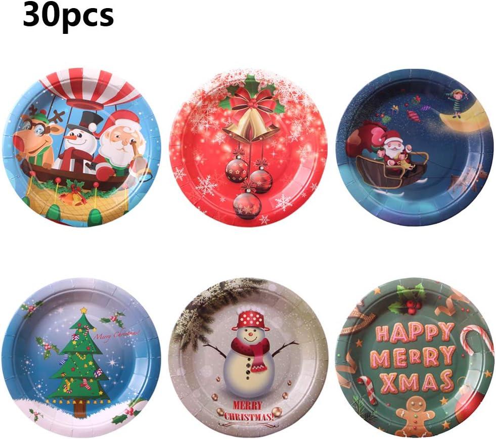 30 platos de papel, platos de papel desechables de Qintaiourty para Navidad, suministros para fiestas de Navidad, decoración del hogar, juego de vajilla creativo y respetuoso con el medio ambiente