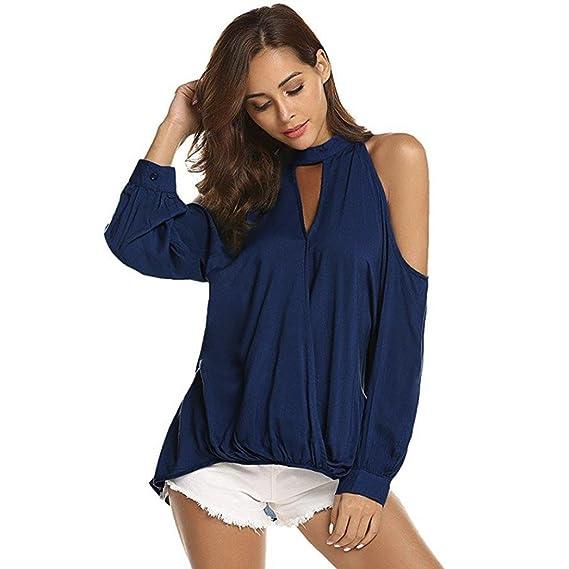 ❤ Camiseta de Mujer Tefamore Manga Larga Camisetas Sólido Off Hombro Casual Blusas Mujer Moda Tops: Amazon.es: Ropa y accesorios