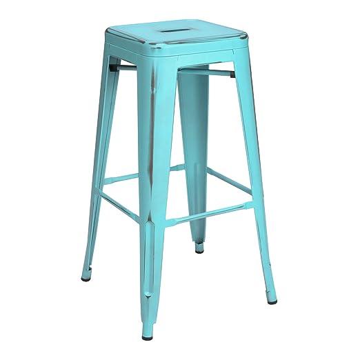 Vaukura Taburete Alto Tolix - Taburete Industrial Metálico Vintage (Azul)