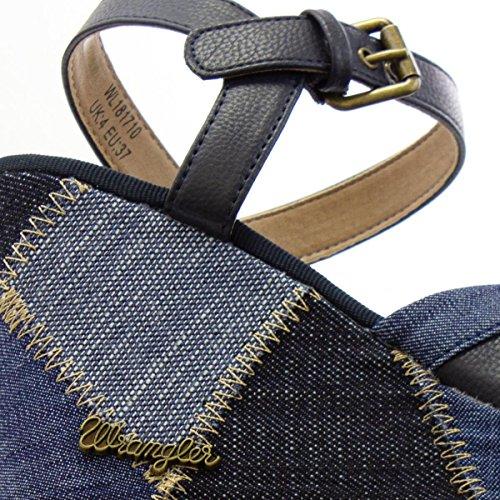 Wrangler Womens Navy Cross Strap High Wedge Sandal Blue 0y5O4