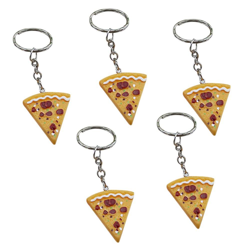 Kanggest 5 pcs Porte-clés en forme de Pizza Résine Pendentif Porte Clef pour Femme Sac Porte Cle pour Voiture/Téléphone/Mariage/Pochette (Jaune)