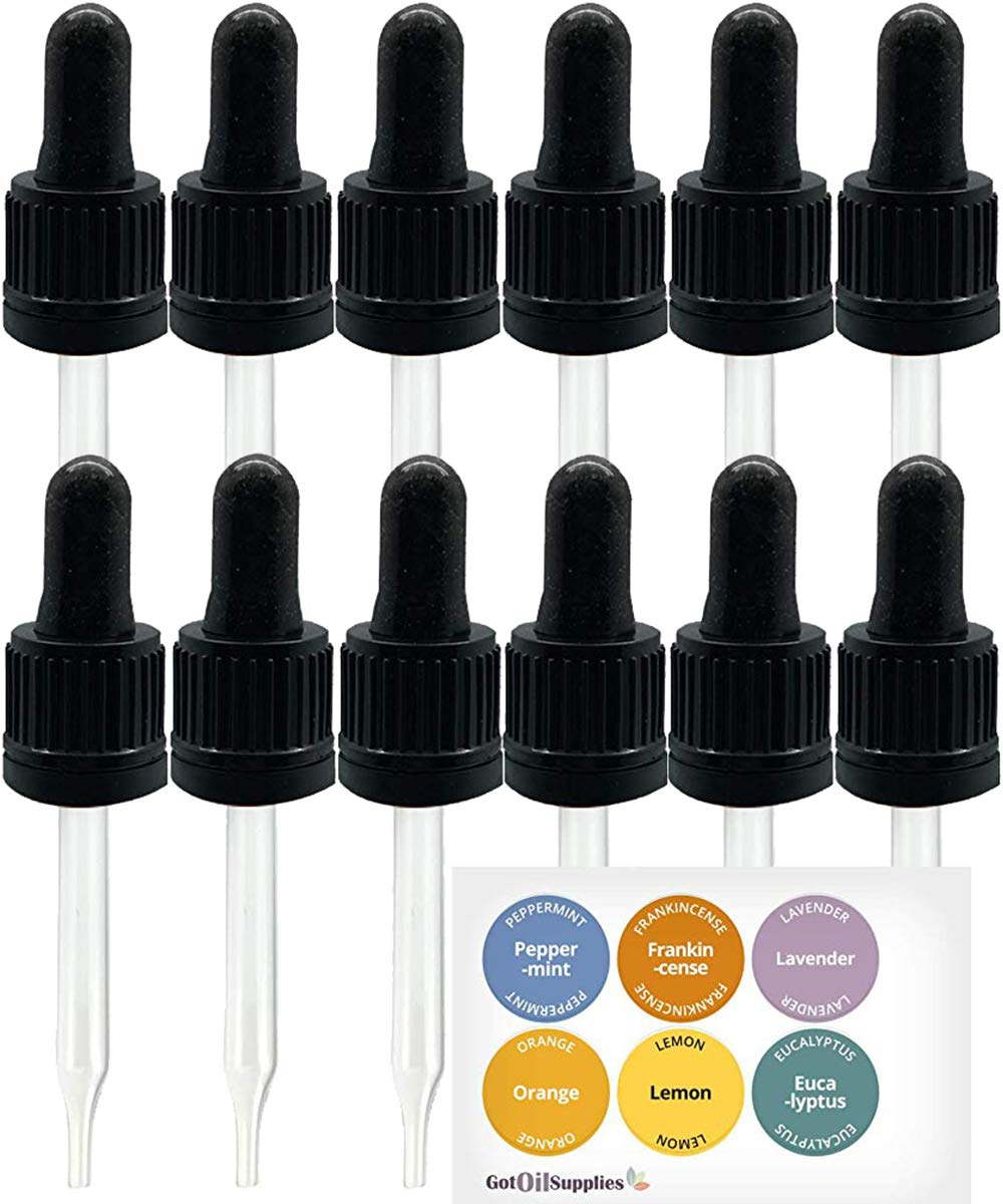 Glass Eye Droppers for Essential Oils are The Perfect Essential Oil Accessories. 12 Pack Dropper Fits 15ml Essential Oil Bottles from Young Living, Doterra, etc, by Got Oil Supplies by Discount Manufacturing & Distributing