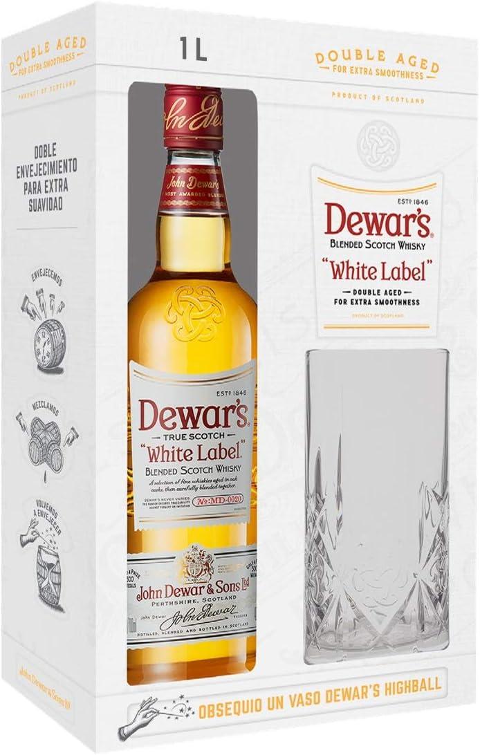 Dewars White Label 5 whisky Gift Pack con Vaso - 1000 ml: Amazon ...