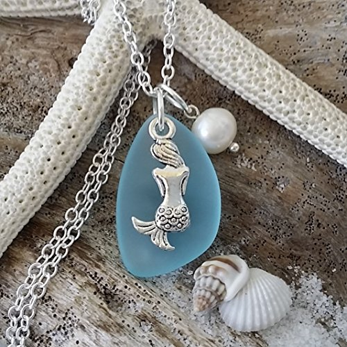 Handmade in Hawaii, turquoise bay blue sea glass necklace, mermaid charm, fresh water pearl, sterling silver chain, Hawaiian Gift, FREE gift wrap, FREE gift message, FREE shipping ()