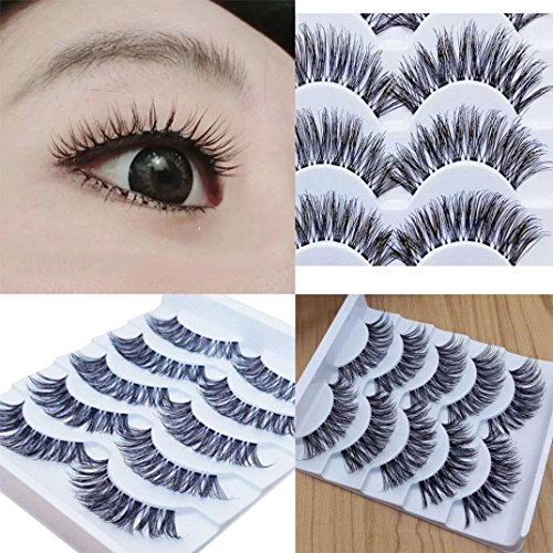 Long False Eyelashes,BeautyVan 2018 New Charming Gracious Makeup Handmade 5Pairs Natural Long False Eyelashes Extension Exquisite