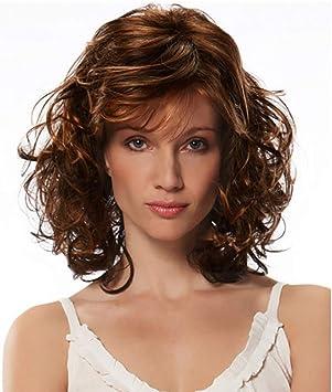 Perruque Femme Femme D Age Moyen Coupe Courte Type De Cheveux Boucles Visage Moelleux Temperament Coiffe Elastique Ajustable 45cm Amazon Fr Beaute Et Parfum