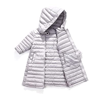 Abetteric Baby Girl's Boy's Lightweight Warm Hooded Mid Long Down Coat