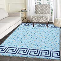 Aqua Non Slip Rugs Antique Greek Border Mosaic Tile Squares Abstract Swimming Pool Design Door Mats for inside Non Slip Backing 3x4 Pale Blue Navy Blue Beige