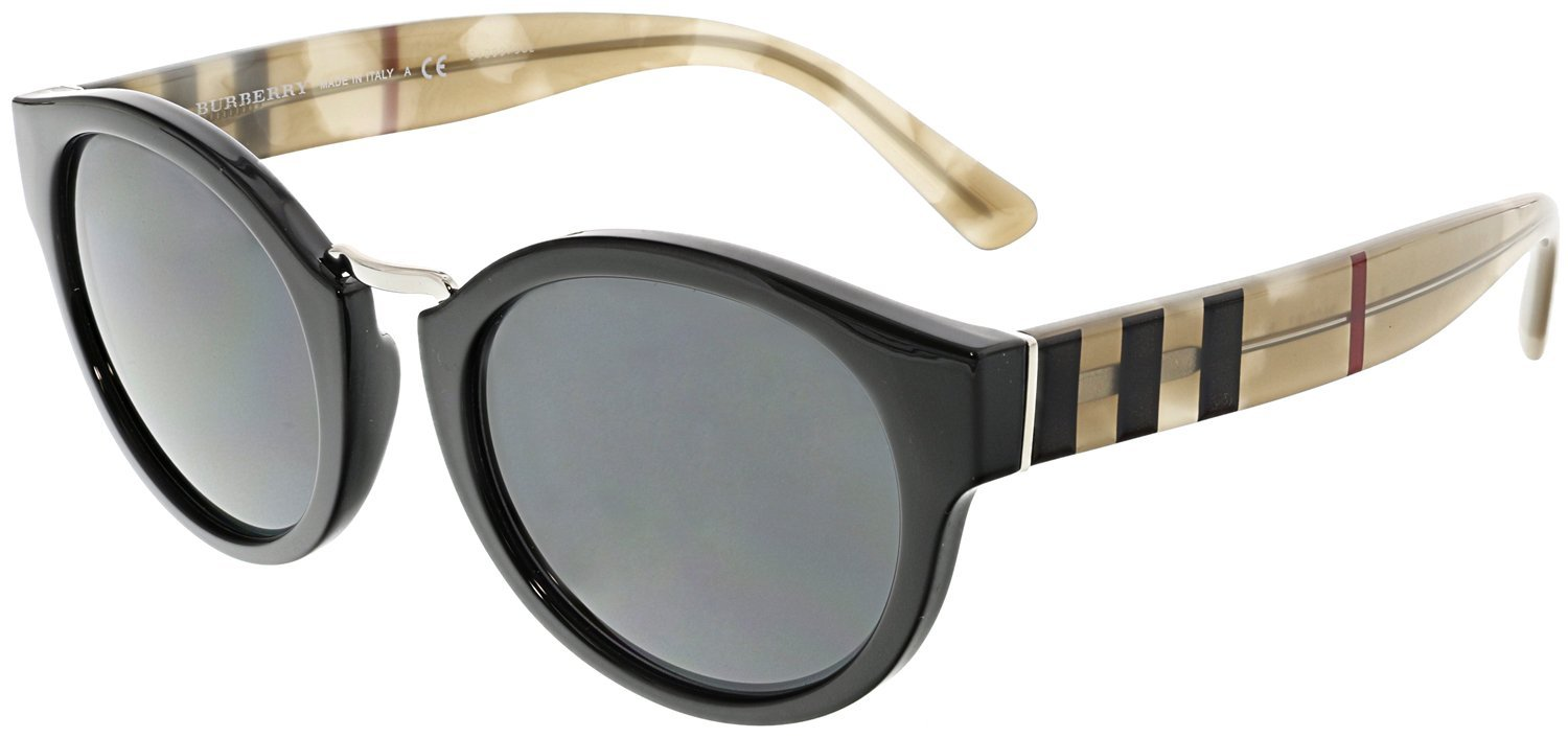 Burberry BE4227 360087 Black / Tortoise BE4227 Round Sunglasses Lens Category 3
