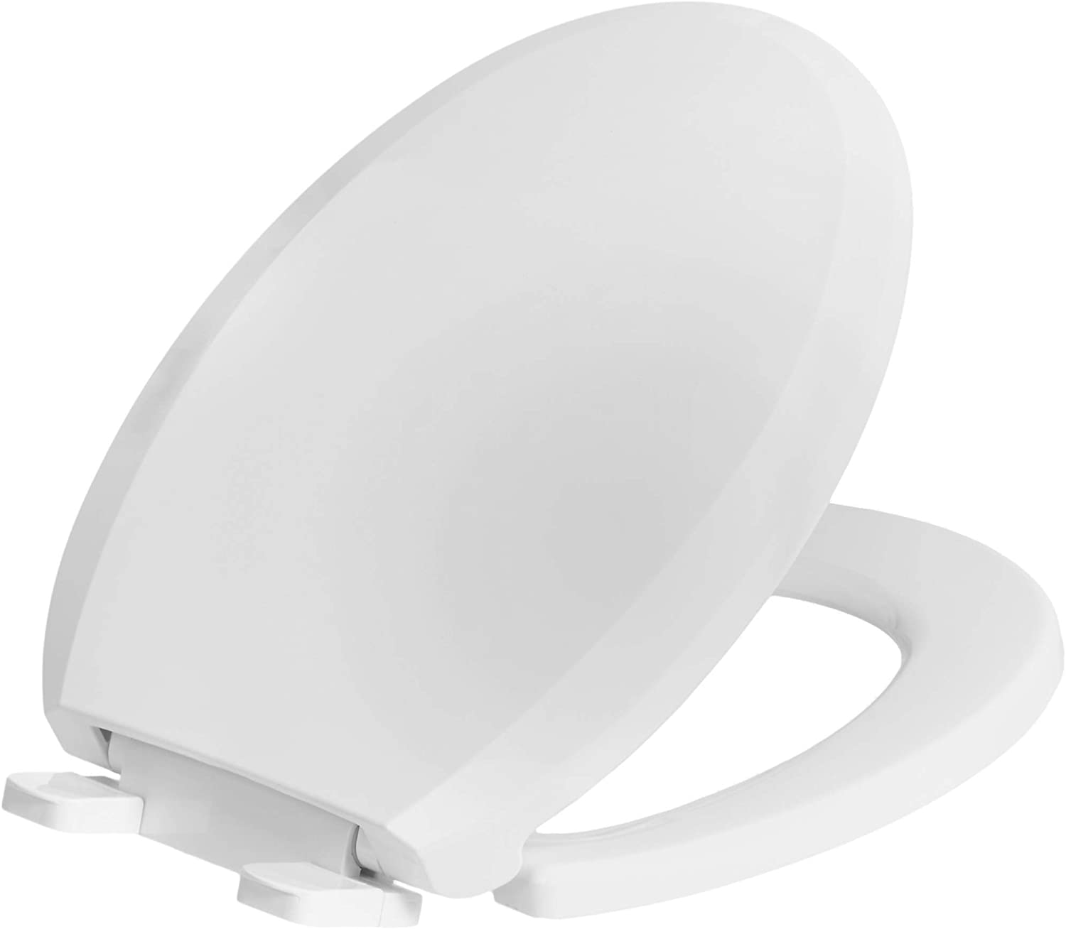 AmazonBasics AB-T102-R-W Quick-Install Soft-Close Toilet Seat, Round, White, 1-Pack