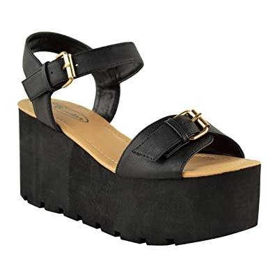 Womens Platform Size Flatform Sandals Ladies Summer Sole Shoes Wedges Chunky fgI6vYyb7