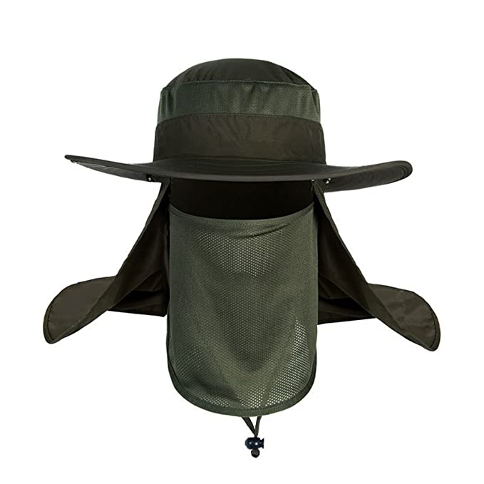 a783dd0d 3 in 1 Outdoor Fishing Hat 360 Degrees Sun Protection Flap Hat with  Removable Sun Shield Mesh Mouth Mask and Neck Cover Large Long Brim Bucket  ...