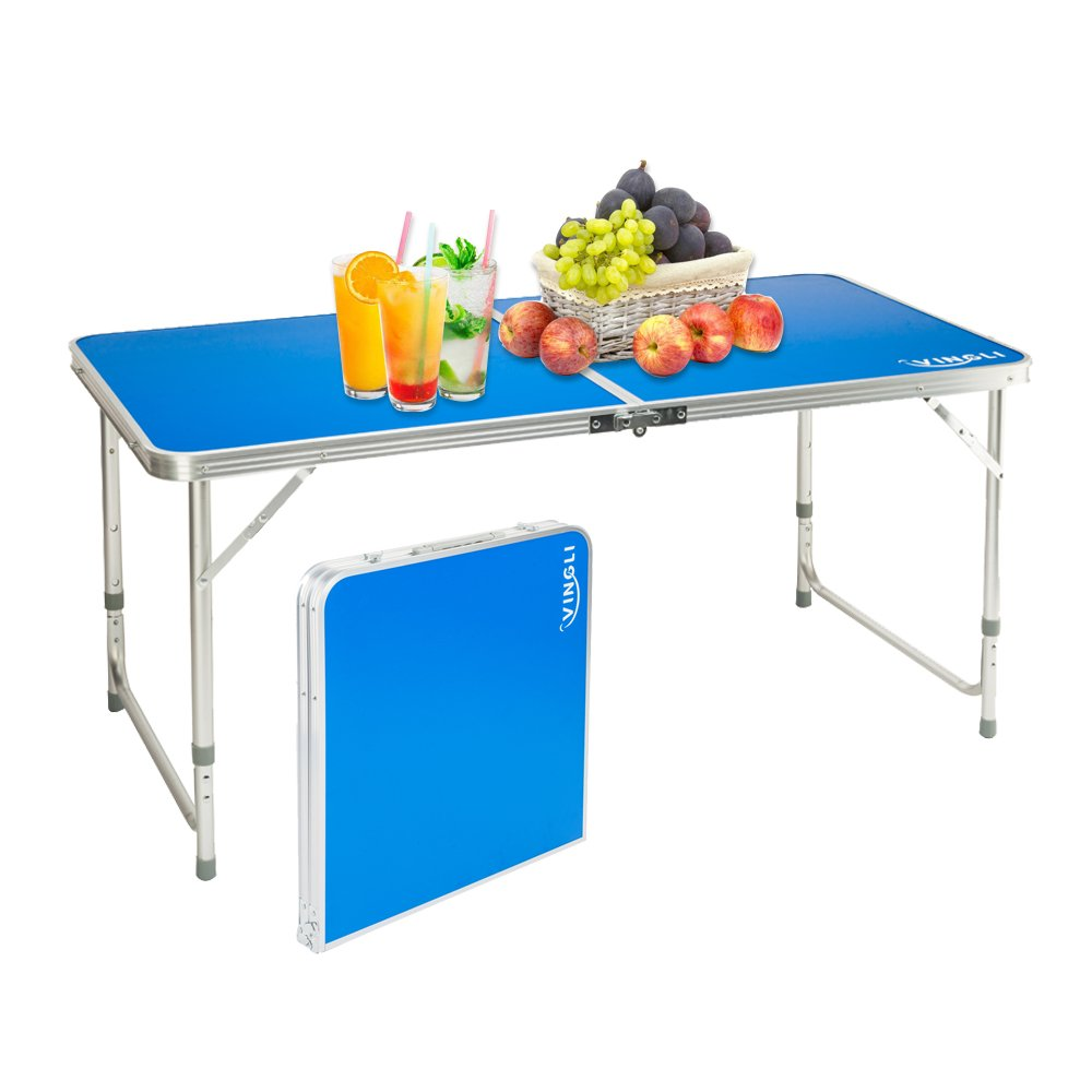 VINGLI Aluminum Folding Utility Table 47.2''L x 23.6', Portable Height Adjustable Multipurpose Maintaining & Camping Dining Picnic Table, for Indoor or Outdoor Party & Activities,Blue