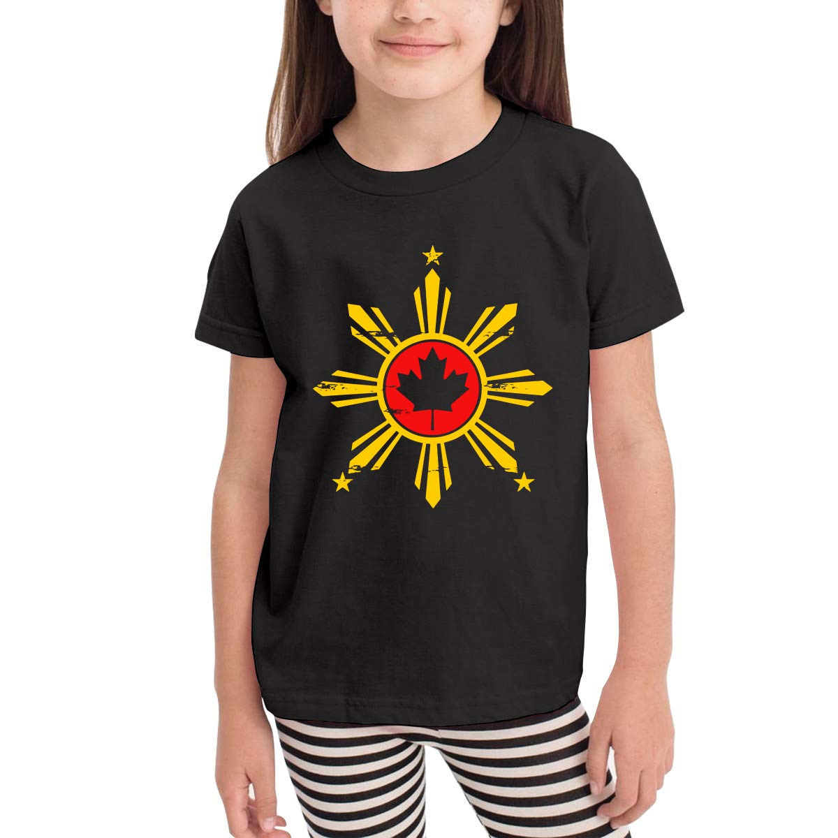 Toddler Baby Filipino Canadian Flag Short Sleeve Tops Lovely Crew Neck Tee