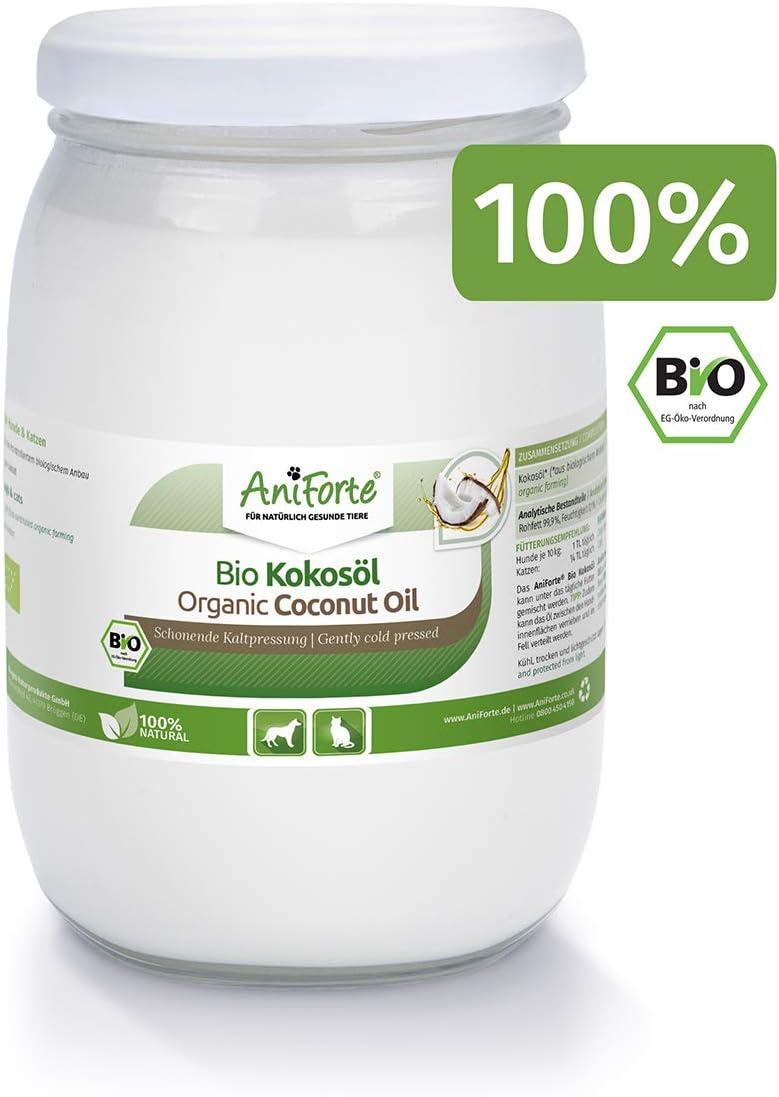 AniForte Aceite de Coco orgánico para Perros y Gatos 1 litro - Prensado en frío, sin refinar, Alto Contenido en ácido láurico para Cuidado del Pelaje