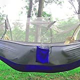 GlobalDeal Outdoor Camping Travel Tool Portable Parachute Fabric Mosquito Net Insectproof Hammock (Blue & Grey)