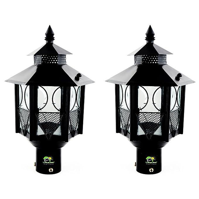 Weldecor 6Angle Gate,Pole,Piller,Garden Lamp Pair(2 Pc) - Black