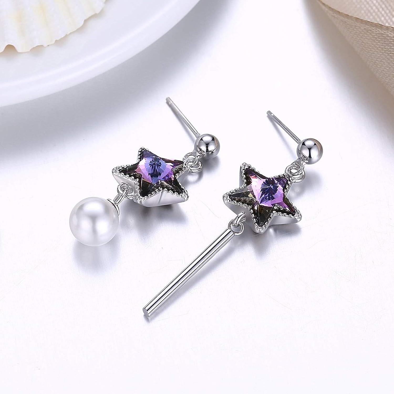 Adisaer Silver Plated Stud Earrings Disney Purple Star Crystal Created Pearl Stud Earrings For Women Girls