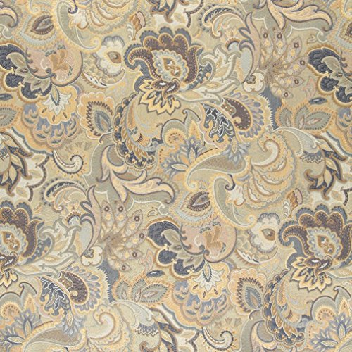 - A0025D Blue White and Gold Abstract Floral Upholstery Fabric by The Yard