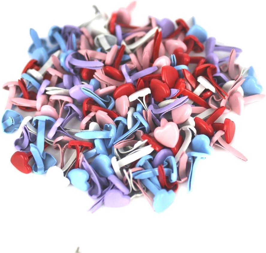 BESTCYC 5mm 1//5 200pcs Mini Heart-shaped Mixed Bright Color Metal Brad Paper Fastener Scrapbooking Card Making Art Craft Brads