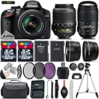 Nikon D3200 DSLR Camera in Black + 0.43X Wide Angle Lens + 2.2x Telephoto Lens + 64GB Storage + UV-CPL-FLD Filters + Tripod + Camera Backpack + Wrist Grip Strap - International Version